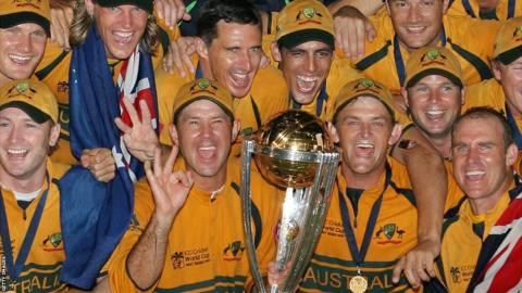 Ricky Ponting (second left, bottom row) leads Australian celebrations after a third World Cup victory