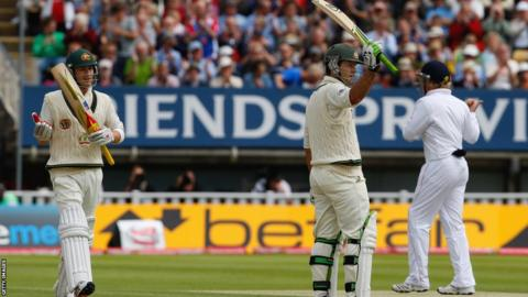 Ricky Ponting acknowledges the crowd at Edgbaston after becoming Australia's leading Test run scorer