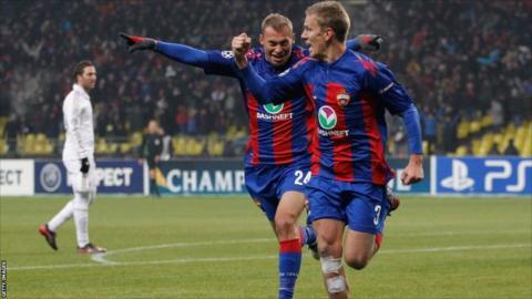Pontus Wernbloom celebrates scoring CSKA Moscow's equaliser against Real Madrid