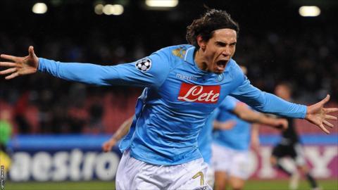 Napoli's Uruguayan forward Edinson Roberto Cavani celebrates after scoring