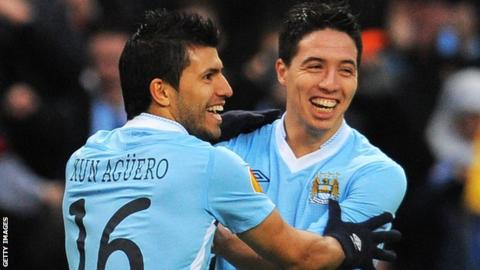 Sergio Aguero (left) and Samir Nasri