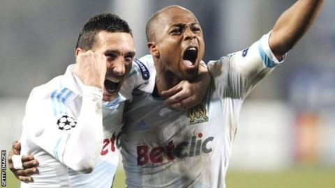 Andre Ayew (right) celebrates with Morgan Amalfitano
