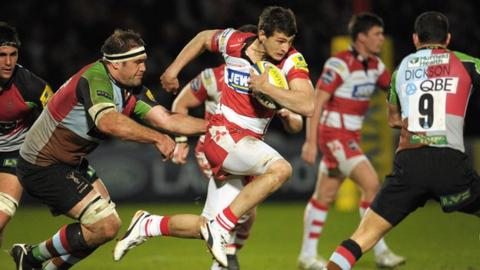 Jonny May breaks away for a fine individual try against Harlequins