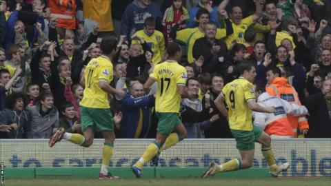 Norwich City's Grant Holt (right) celebrates with team-mates after scoring against Manchester United