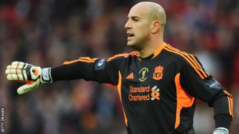 Liverpool goalkeeper Jose Reina