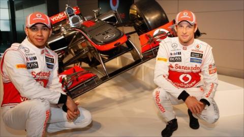 Team McLaren Mercedes drivers Lewis Hamilton (left) and Jenson Button unveil the new MP-27 Formula 1 car