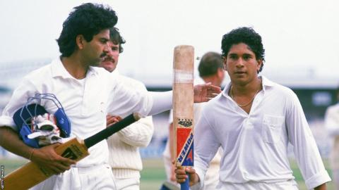 Sachin Tendulkar after scoring his maiden Test century