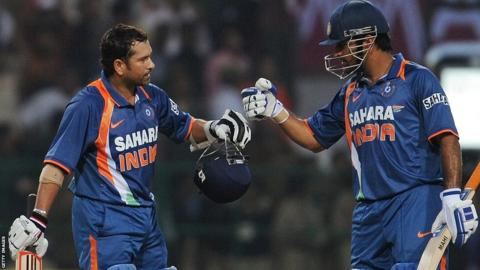 Sachin Tendulkar celebrates after scoring the first one-day international double century