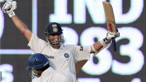 Sachin Tendulkar celebrates after beating England in 2008