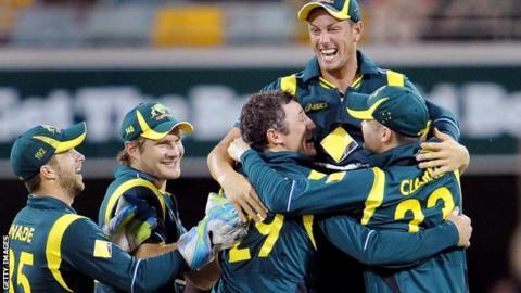 The Australian team celebrate victory over Sri Lanka