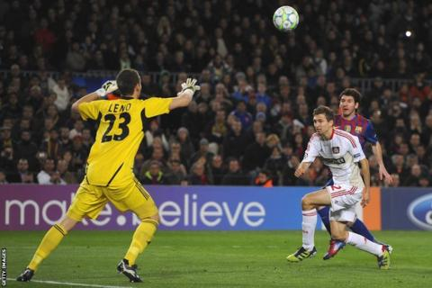 Messi scores his team's third goal (and his hat-trick strike) against Bayer Leverkusen