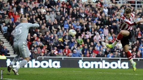 Nicklas Bendtner scores against Liverpool