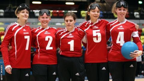 Jessica Luke, Anna Sharkey, Louise Simpson, Amy Otterwat and Georgina Bullen of Great Britain at the London International Goalball Tournament.