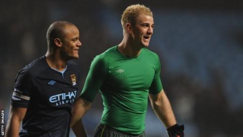 Manchester City defender Vincent Kompany and goalkeeper Joe Hart