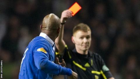Referee Calum Murray brandished three red cards in his last Old Firm derby