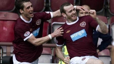 Beattie (right) celebrates his goal in the 2-0 win over Hibernian