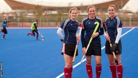 GB hockey players Helen Richardson, Kate Walsh and Laura Bartlett