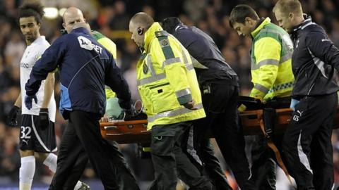Fabrice Muamba is stretchered off