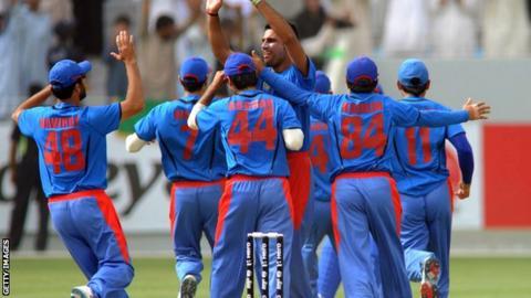 Afghanistan cricket team celebrating