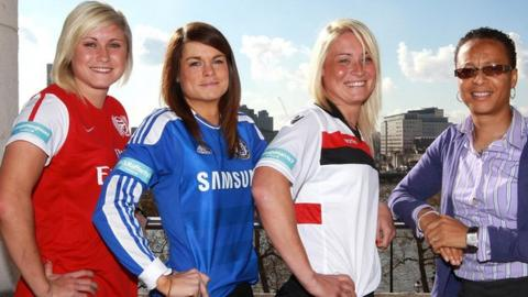 Arsenal's Steph Houghton, Chelsea's Claire Rafferty, Lincoln's Megan Harris and England coach Hope Powell