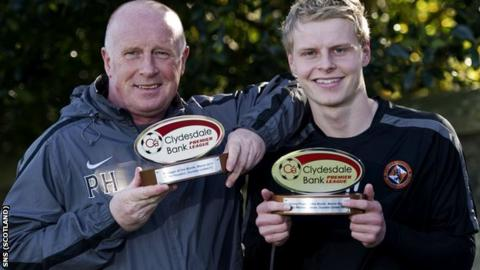 Dundee United manager Peter Houston and winger Gary Mackay-Steven