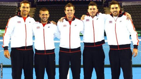 Ross Hutchins, Dan Evans, Leon Smith, Josh Goodall and Colin Fleming