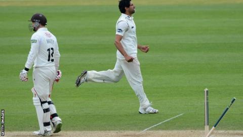 Amjad Khan celebrates bowling Jonathan Batty