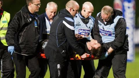 Glasgow Warriors player Ryan Wilson is stretchered off