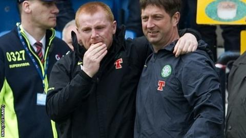 Lennon (left) is emotional at the final whistle at Rugby Park