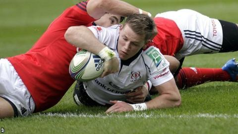 Craig Gilroy touches down for Ulster's try