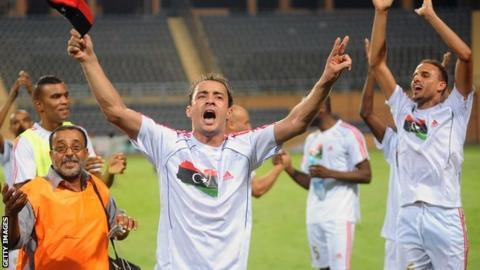 Libyan players celebrate qualifying for the 2012 Nations Cup