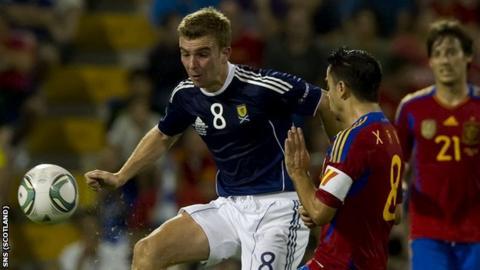 Scotland's James Morrison in action against Spain