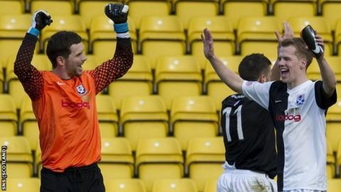 Ayr United goalkeeper Kevin Cuthbert and team-mate Jonathan Tiffoney