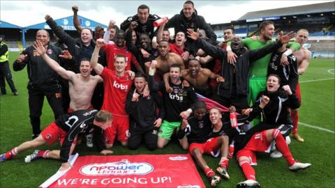 Charlton players celebrate