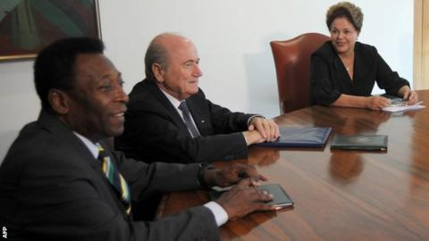 Blatter with Pele and Brazil's president Dilma Rousseff