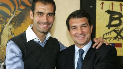 Pep Guardiola and Joan Laporta
