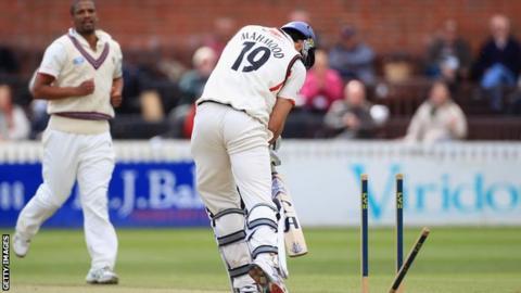 Vernon Philander bowls Lancashire's Saj Mahmood
