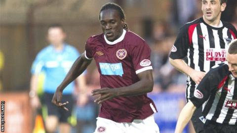Hearts forward David Obua
