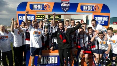 Ross County celebrate with the Scottish First Division trophy