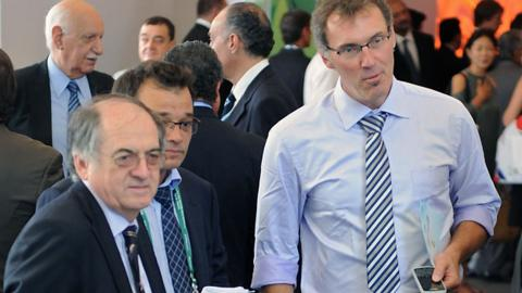Federation Francaise de Football (FFF) chairman Noel Le Graet (left) and Laurent Blanc