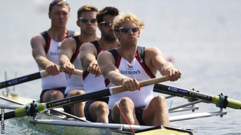 Alex Gregory, Pete Reed, Tom James and Andrew Triggs Hodge in the GB men's four