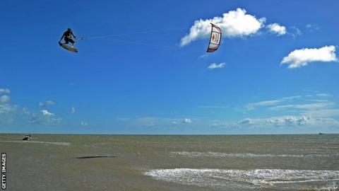 A kiteboarder