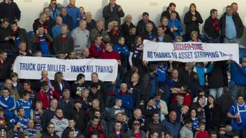 Some Rangers fans make their feelings known at Ibrox