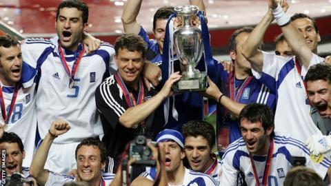 Greece celebrate their stunning Euro 2004 triumph