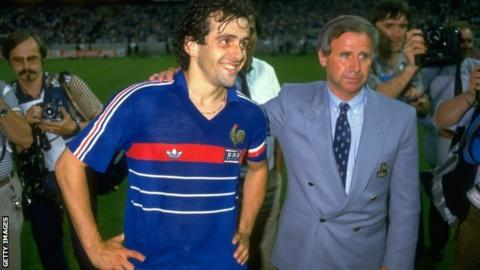 France captain Michel Platini and coach Michel Hidalgo after victory over Spain in the 1984 European Championship final