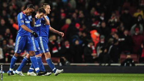 Chelsea's Didier Drogba, Frank Lampard and John Terry