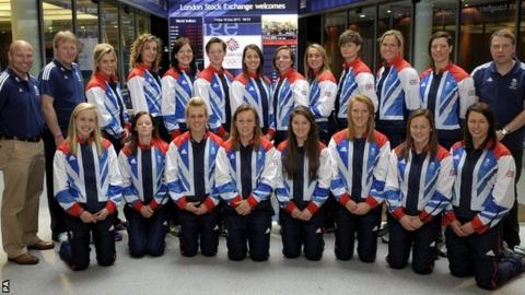 Team GB women's hockey squad at the London Stock Exchange