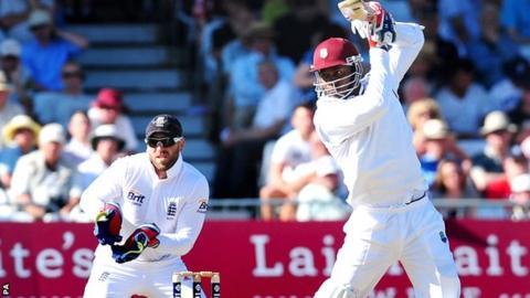 Marlon Samuels in action on day one