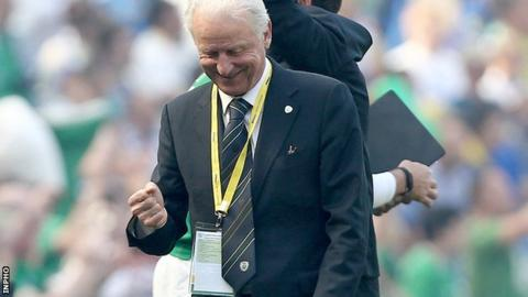 Giovanni Trapattoni celebrates after Shane Long's winner in Dublin