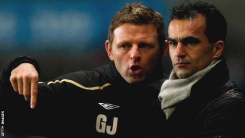 Graeme Jones alongside Roberto Martinez during their time at Swansea City